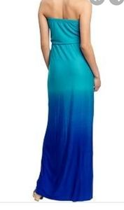 Sexy strapless maxi ombre teal and blue dress